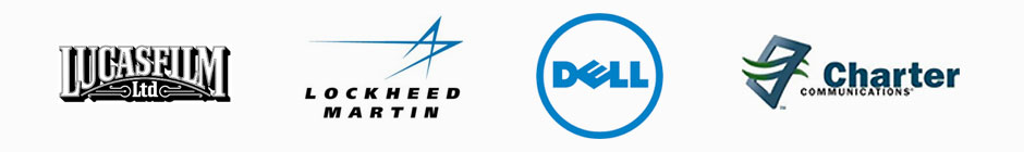 Lucasfilm, Lockheed, Dell, and Charter Logos