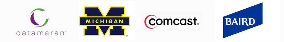 Catamaran, University of Michigan, Comcast, and RW Baird Logos