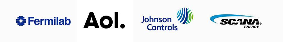 Fermilab, AOL, Johnson Controls, and Navistar Logos