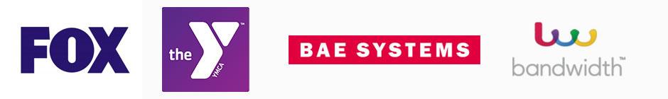 Fox, YMCA, BAE, and Bandwidth Logos