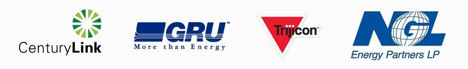 Centrylink, GRU, Trijicon, and NGL Logos