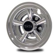 "Chrome Golf Cart SS Wheel Covers 8"" - Set of 4"