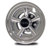"Chrome Golf Cart SS Wheel Covers 8"" - Set of 4"