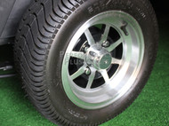 """10"""" Machined and Black 8 Spoke Golf Cart Wheels with Low Profile DOT Tires -Set"""