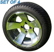 """Performance Plus Carts Silver Rock 14"""" Silver Golf Cart Wheels with Low Profile Street Tires"""