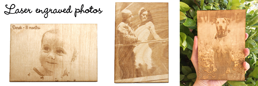 Engraved wood photos