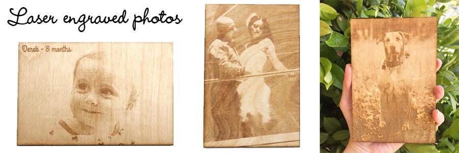 Engraved wood photos