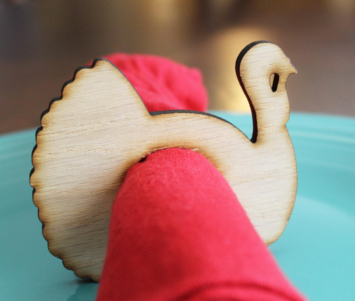 Turkey wood napkin ring - laser cut