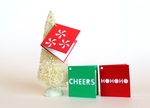 Folded holiday gift tags - Cheers set