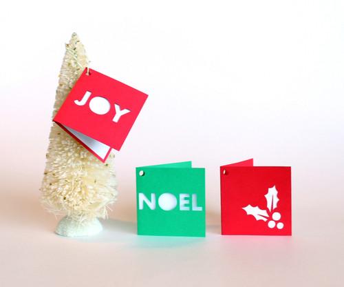 Folded holiday gift tags - Joy