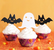 Halloween bat & ghost cupcake toppers