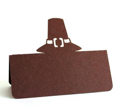 Pilgrim hat place card - brown cardstock