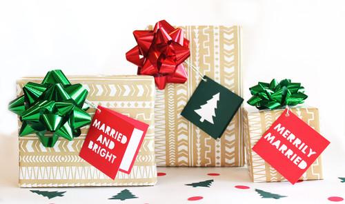 Merrily holiday folded gift tag set