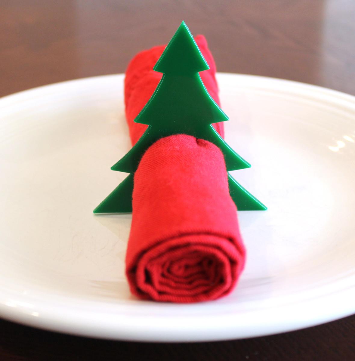 Christmas Tree Napkin Rings.Christmas Tree Acrylic Napkin Rings Large