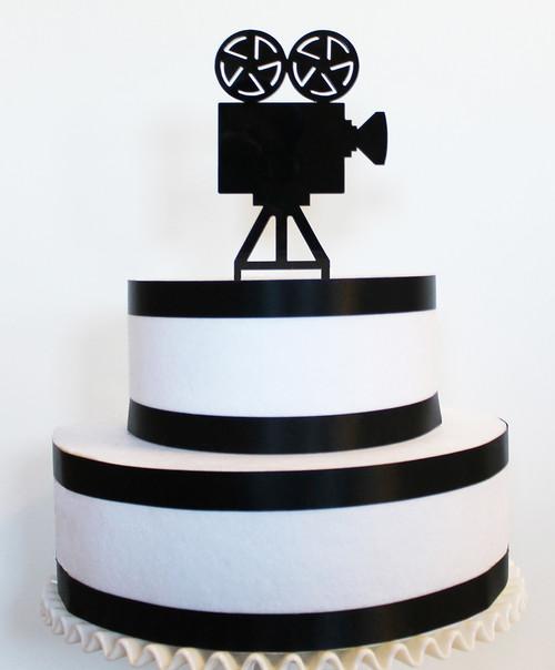 Movie camera cake topper - black acrylic