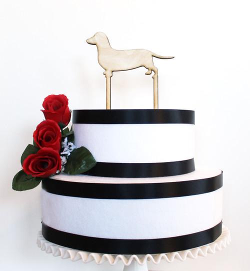 Custom dog cake topper - dachshund shown in wood
