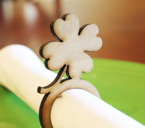 Shamrock wood napkin ring