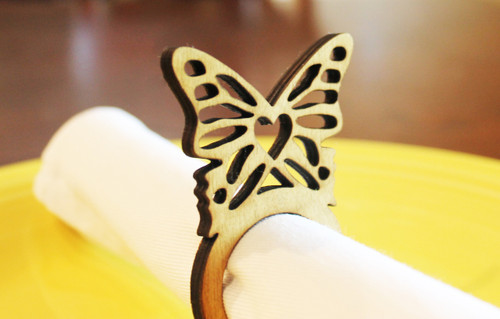Butterfly wood napkin ring