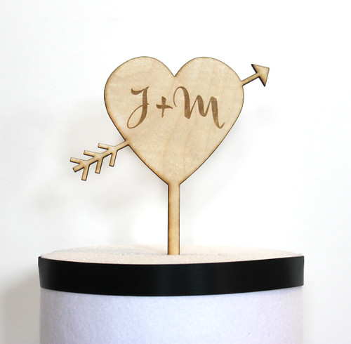 Heart & Arrow Cake Topper with initials