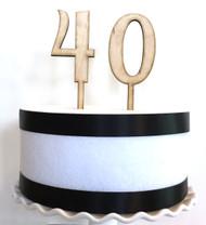 Wood number cake topper