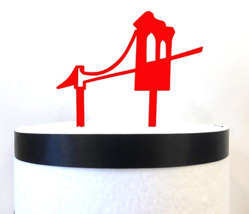 Brooklyn Bridge cake topper - red acrylic