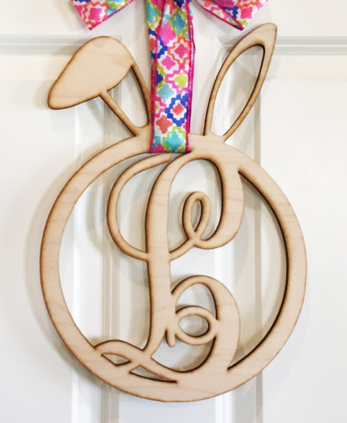 Easter bunny monogram door sign