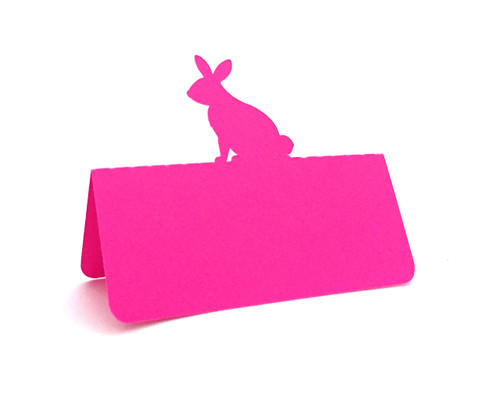 Rabbit place card - hot pink