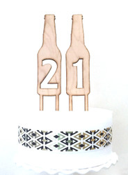 Beer bottle number cake toppers
