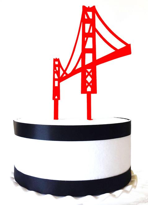Golden Gate Bridge cake topper - red acrylic