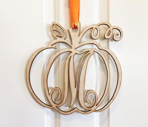 Pumpkin Monogram Door Sign