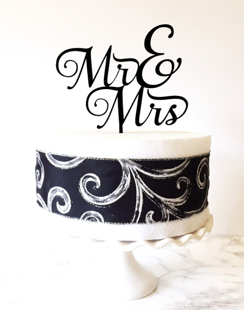 Mr & Mrs Cake Topper - black acrylic