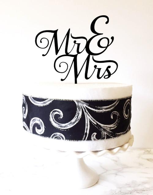 Mr & Mrs Cake Topper - black acrylic
