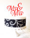 Mr & Mrs Cake Topper - red acrylic