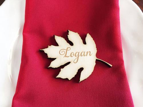 Wood leaf engraved place card