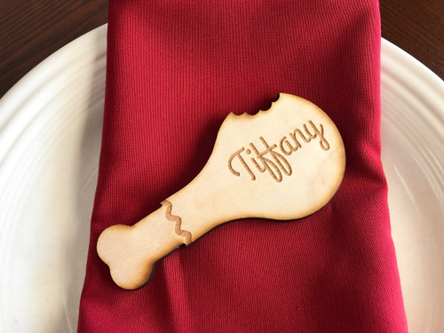 Wood Turkey Leg Engraved Place Cards