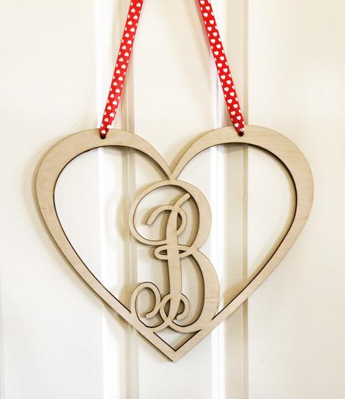 Monogram Wood Heart Door Sign