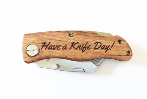 Personalized Engraved Folding Utility Knife - Closed