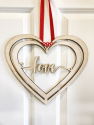 Valentine's Love Wood Heart Door Sign