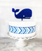 Whale cake topper - shown in navy blue acrylic