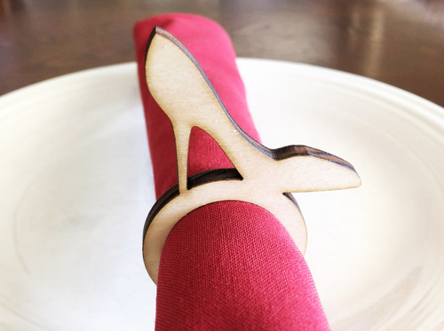 High Heel Wood Napkin Ring