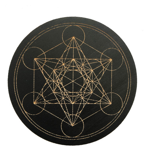 Metatron's Cube Crystal Grid - Stained Black
