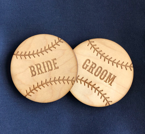 Wood Baseball engraved place cards