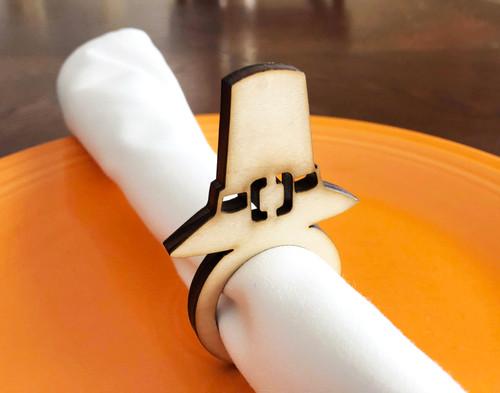 Pilgrim Hat Wood Napkin Rings