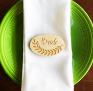 Olive branch wood oval engraved place cards