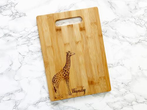 Giraffe Personalized Name Cutting Board