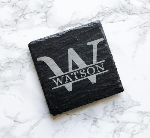 Monogram Square Slate Coasters