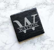 Monogram Square Slate Coasters