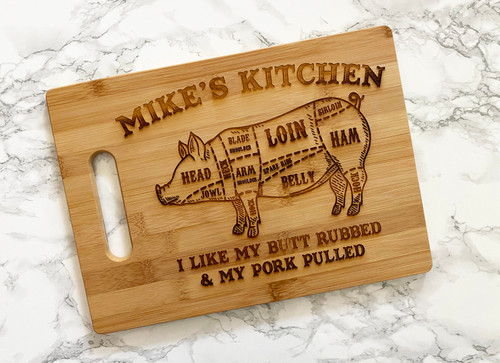 Personalized Pig Diagram Cutting Board