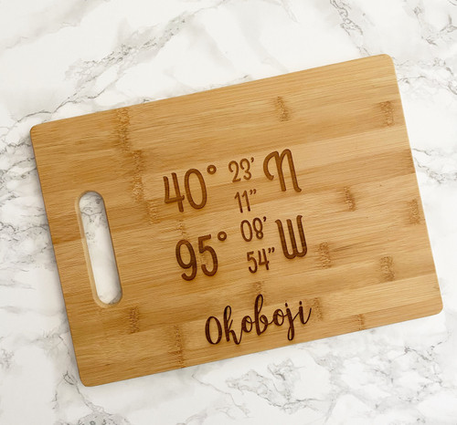 GPS Coordinates Cutting Board