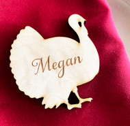 Turkey wood engraved place cards